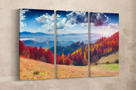 Autumn mountain framed canvas leather print/Mountain print/Autumn wall art/Autumn trees/Large wall art/Made in Italy/Better than canvas!