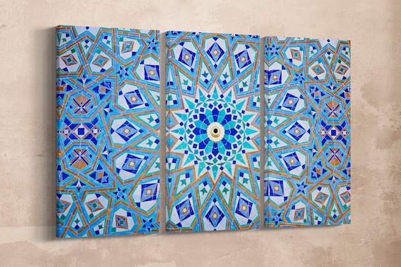 Oriental Mosaic Leather Print/Geometric Wall Art/Morocco/Large Wall Art/Multi Panel Print/Large Wall Decor/Made in Italy/Better than Canvas!