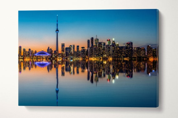 Toronto Skyline Reflected at Dusk Leather Print/Large Toronto Print/Toronto Canvas/Large Wall Art/Triptych/Made in Italy/Better than Canvas!