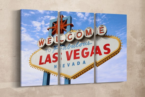 3 Panel Welcome to Fabulous Las Vegas Leather Print/Large Las Vegas Wall Art/Wall Decor/Multi Panel Print/Made in Italy/Better than Canvas!