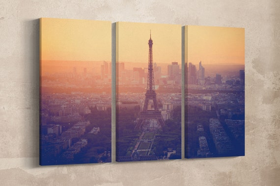 3 Panel Tour Eiffel Vintage Filter Leather Print/Extra Large Tour Eifell Print/Multi Panel Wall Art/Made in Italy/Better than Canvas!