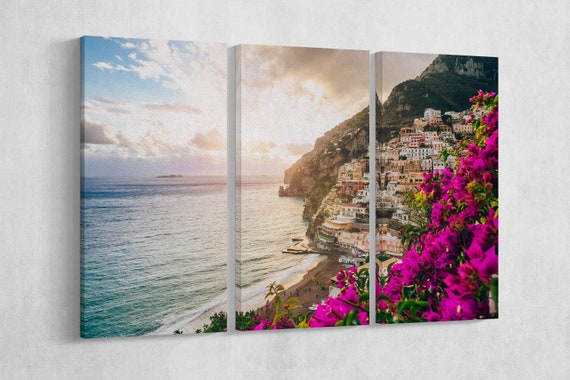 Positano - Salerno - Italy Leather Print/Wall Art/Multi Panel Print/Multi Pieces Print/Extra Large Print/Italy Print/Better than Canvas!