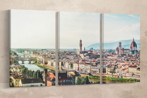 Florence Large Leather Print/Multi Panel Print/Extra Large Wall Art/Firenze Print/Made in Italy Print/Large Wall Decor/Better than Canvas!