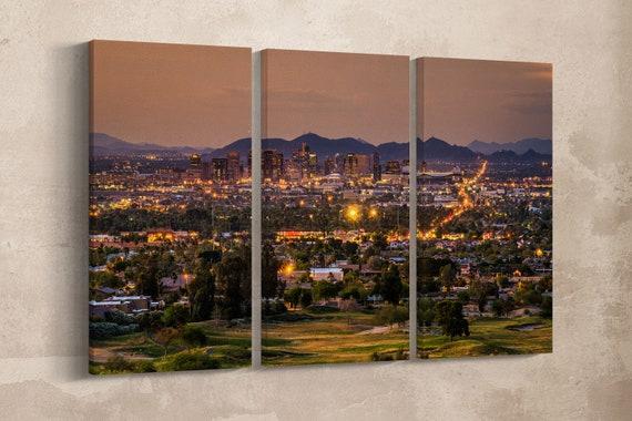 3 Pieces Phoenix Arizona Skyline at Sunset Leather Print/Multi Panel Wall Art/Extra Large Wall Art/Phoenix Wall Art/Better than Canvas!