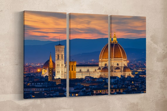 3 Pieces Twilight at Florence Duomo Leather Print/Extra Large Print/Multi Panel Print/Large Wall Art/Large Wall Decor/Better than Canvas!