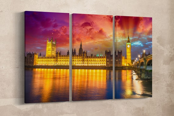 3 Panel London - The Big Ben and Westminster Bridge at sunset, England Leather Print/Large Wall Art/Large London Print/Better than Canvas!