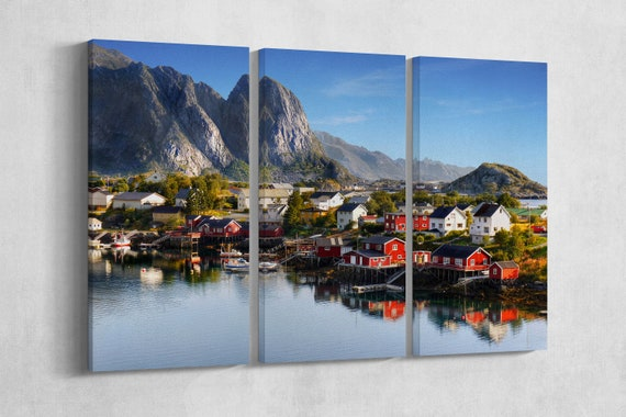 3 Piece Lofoten, Norway Leather Print/Large Lofoten Islands Print/Large Norway Wall Art/Multi Panel Print/Made in Italy/Better than Canvas!