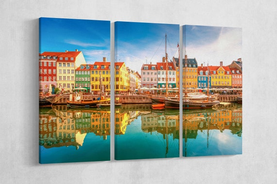 Nyhavn, Copenhagen Leather Print/Large Wall Art/Large Wall Decor/Multi Panel Kopenhagen Print/Made in Italy/Better than Canvas!