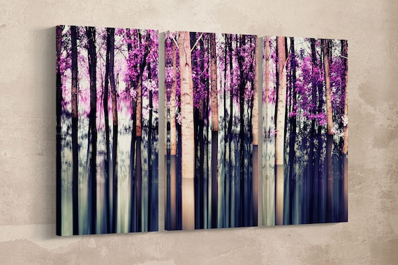 Abstract Forest Leather Print/Wall Art/Nature Print/Multi Pieces Print/Leather Print/Better than Canvas!