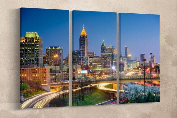 Atlanta, Georgia, USA Leather Print/Wall Art/Wall Decor/Downtown City and Skyline/Atlanta Large Print/Multi Panel Print/Better than Canvas!