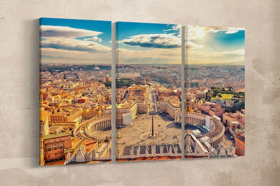 3 Pieces Saint Peter's Square in Vatican and aerial view of Rome Leather Print/Wall Art/Multi Panels/Extra Large/Rome/Better than Canvas!