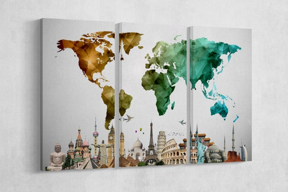 LARGE Color World Map Vector with Monuments Leather Print/Large Wall Art/Extra Large World Map/Multi Pieces World Map/Better than Canvas!