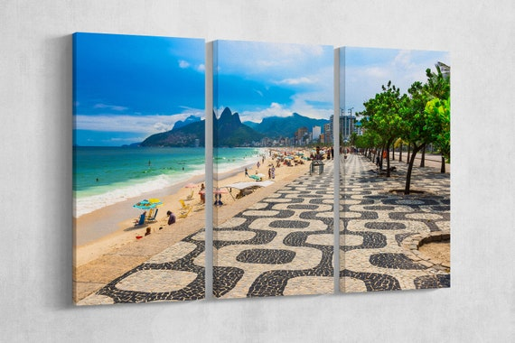 Ipanema beach with mosaic of sidewalk in Rio de Janeiro framed canvas leather print/Large Rio print/Made in Italy/Better than canvas!