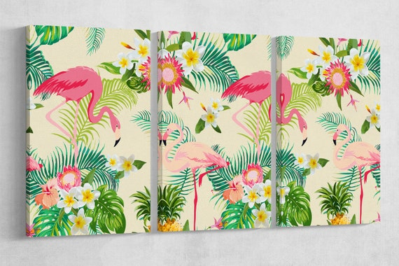 Tropical Flamingo Illustration Leather Print/Large Wall Art/Wall Decor/Large Flamingo Print/Tropical Print/Made in Italy/Better than Canvas!