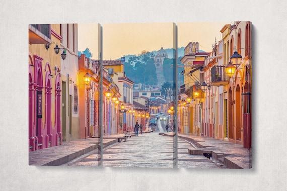 San Cristobal de las Casas in Chiapas, Mexico colorful houses facades canvas leather print