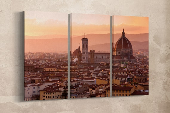 3 Piece Florence Leather Print/Large Florence Print/Brunelleschi Dome Large Print/Large Wall Art/Wall Decor/Made in Italy/Better than Canvas
