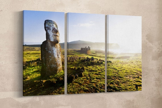 3 Pieces Standing Moai in Easter Island Leather Print/Wall Art/Wall Decor/Multi Panel Print/Large Print/Made in Italy/Better than Canvas!