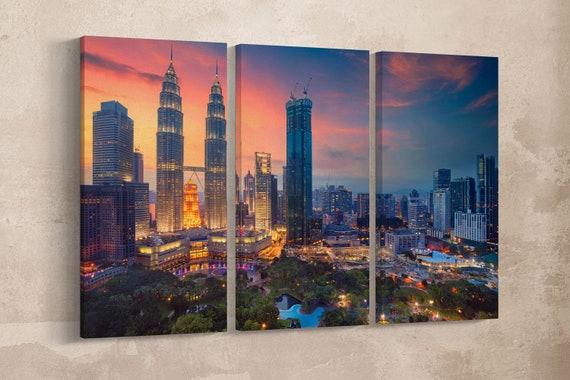 Kuala Lumpur at Sunset Leather Print/Large Kuala Lumpur Print/Petronas Tower Print/Multi Panel Wall Art/Made in Italy/Better than Canvas!