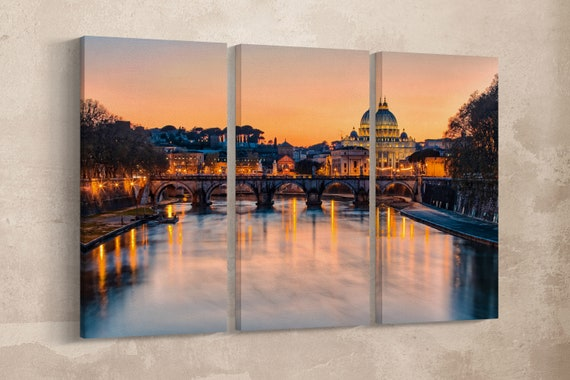 3 Pieces Rome, Sunset at Saint Peter's Basilica Leather Print/Extra Large Print/Large Wall Art/Multi Panel Wall Decor/Better than Canvas!