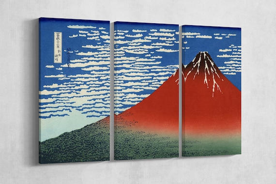 3 Piece Fine Wind, Clear Morning/South Wind, Clear Sky/Red Fuji Leather Print/Hokusai Large Wall Art/Made in Italy/Better than Canvas