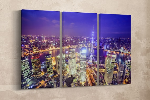 3 Panel Shanghai Skyline at Night Leather Print/Oriental Pearl Tower/Large Wall Art/Large Wall Decor/Made in Italy/Better than Canvas!