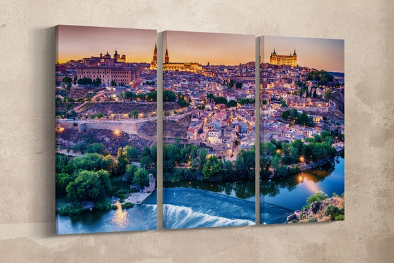 3 Panel Toledo, Spain Leather Print/Large Wall Art/Multi Panel Print/Triptych/Toledo Wall Art/Wall Decor/Made in Italy/Better than Canvas!