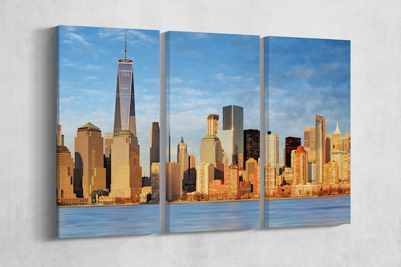 3 Panel Manhattan skyscrapers and One World Trade Center Leather Print/New York Canvas/Large Wall Art/Made in Italy/Better than Canvas!