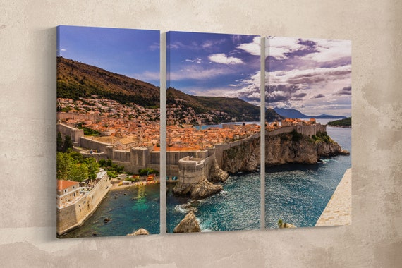 Old fortified city of Dubrovnik framed canvas leather print/GOT city/Large wall art/Large wall decor/Made in Italy/Better than Canvas!