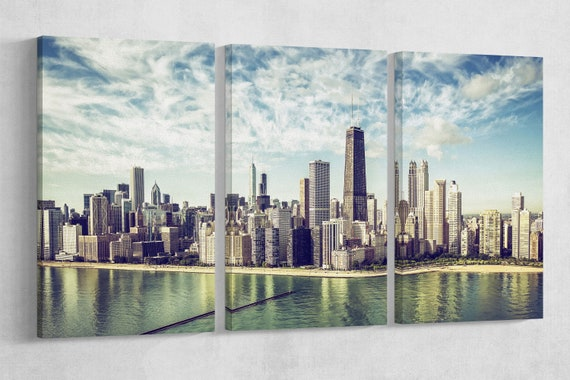 Chicago Skyline aerial view by the beach, vintage colors leather print/Chicago large print/Multi panel wall art/Better than Canvas!