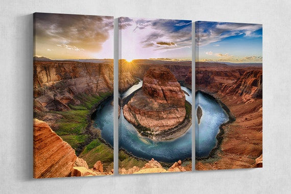 Horseshoe bend Grand Canyon National Park at Sunset Leather Print/Multi Panel Print/Lather Art/Large Print/Wall Art/Better than Canvas!