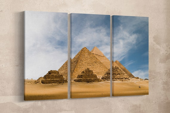 3 Pieces The Great Pyramid of Giza Leather Print/Extra Large Wall Art/3 Panel Print/Large Wall Decor/The Great Pyramid/Better than Canvas!
