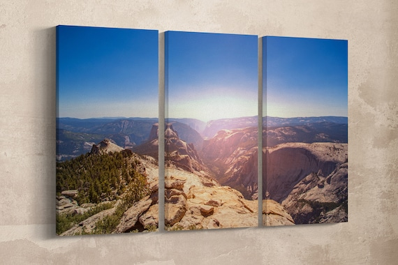 3 Panel Yosemite National Park, CA Lather Print/Large Wall Art/Large Wall Decor/Multi Pieces Wall Art/Nature Print/Better than Canvas!