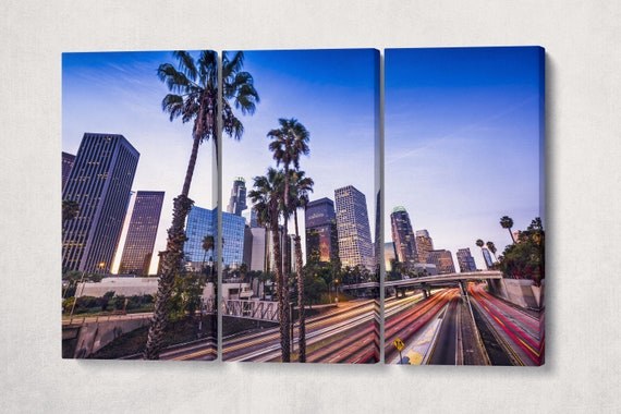 Los Angeles Downtown Street Lights Framed Canvas Leather Print