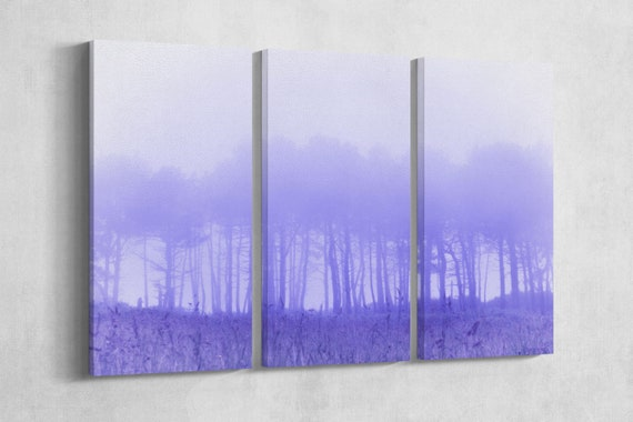 3 Panel Trees in Fog Leather Print/Large Wall Art/Multi Panel Wall Art/Large Wall Decor/Home Decor/Made in Italy/Better than Canvas!