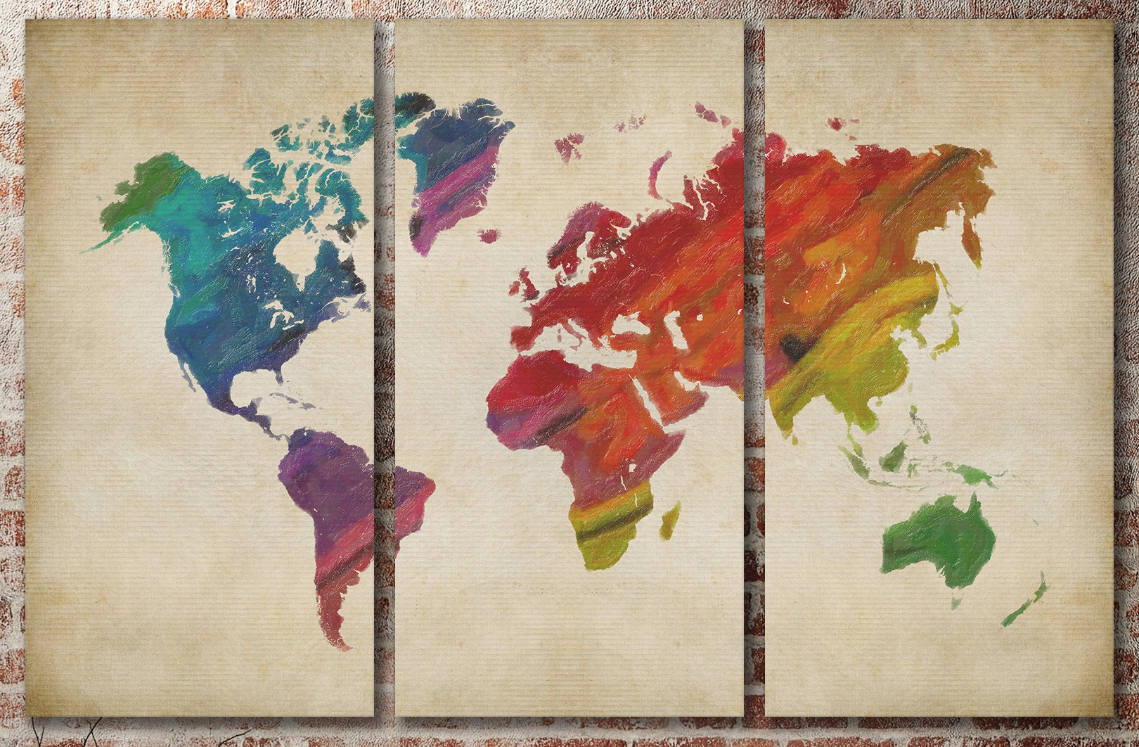 Rainbow World Map On Beige Background Leather Print/Large