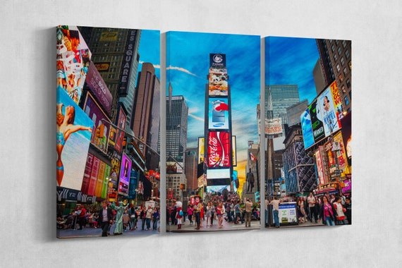 3 Panel Times Square New York Leather Print/Large Wall art/Multi Panel Wall Art/Large New York Print/Made in Italy/Better than Canvas!