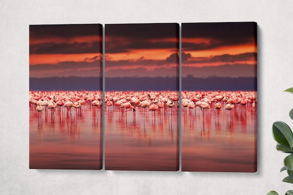 Flamingos at Sunset Leather Print/Wall Art/Multi Pieces Print/Extra Large Print/Wild Animals/Better than Canvas!