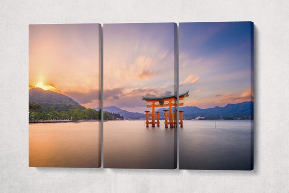 Floating Torii Gate Miyajima, Hiroshima, Japan at Itsukushima Shrine's at Sunset Canvas Leather Print