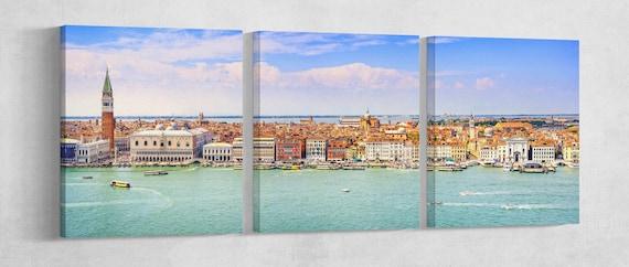 Venezia Panoramic View Leather Print/Multi Panel Print/Extra Large Print/Venice Print/Wall Art/Wall Decor/Better than Canvas!