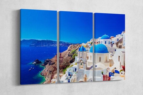 3 Panel Oia town on Santorini island, Greece Leather Print/Extra Large Print/Multi Panel Print/Greece Island Print/Better than Canvas!