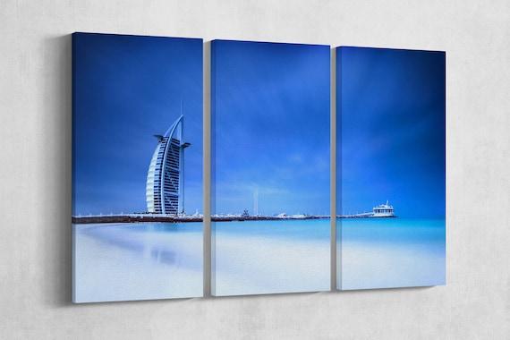 3 Panel Burj Al Arab Hotel Dubai Leather Print/Large Wall Art/Large Wall Decor/Home Decor/Large Dubai Print/Made in Italy/Better than Canvas