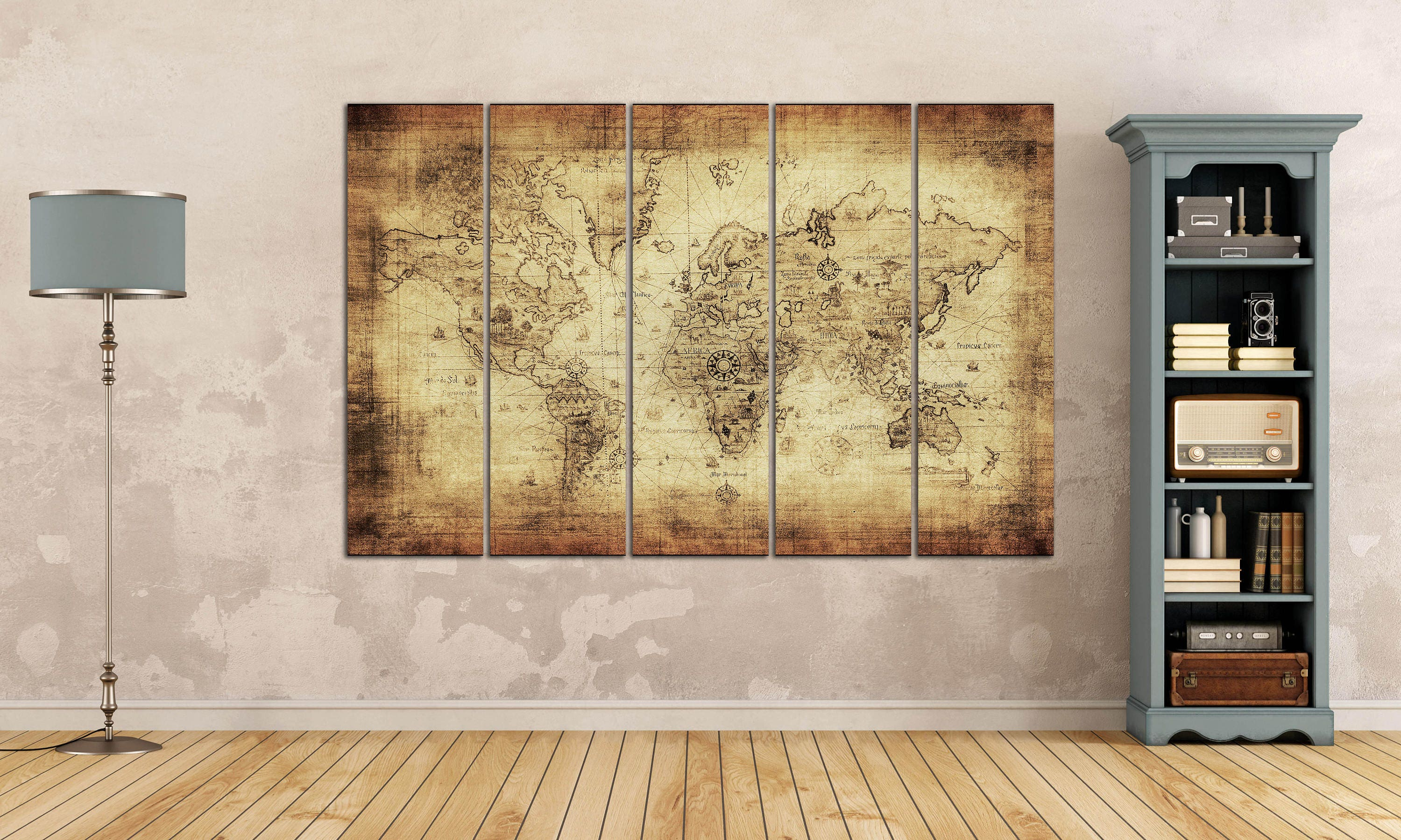 Beige/Brown Ancient World Map Leather Print/Large Wall Art/Big Size ...