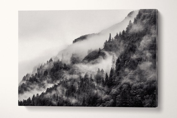 Misty Mountain in Black and White Framed Canvas Leather Print