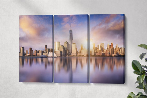 New York City Skyline Leather Print/Large New York Canvas/One World Trade Center Print/New York Wall Art/Made in Italy/Better than Canvas!