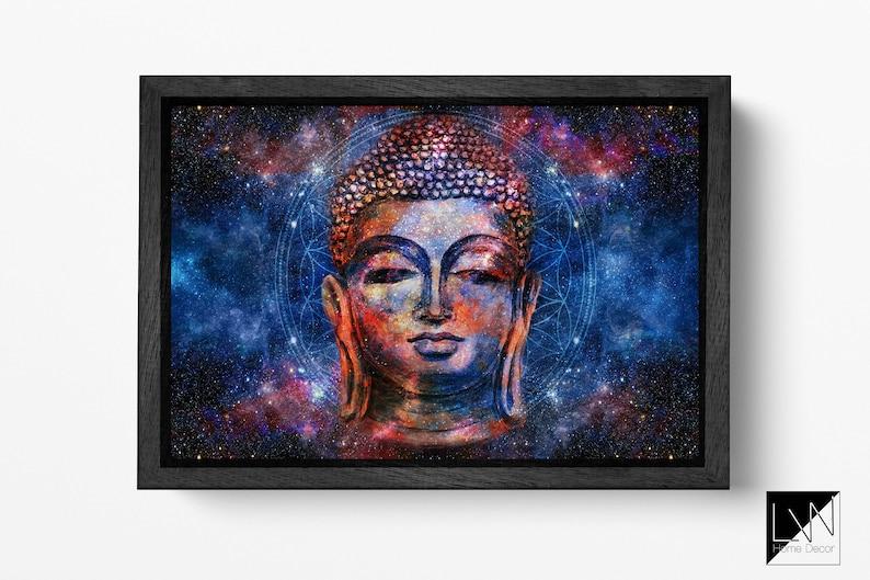 Buddha head mandala background artwork framed canvas leather image 0