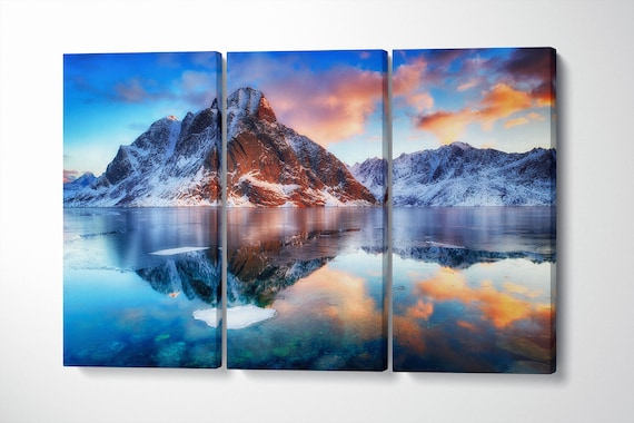 Mountain Wall Art Lofoten Norway Dramatic Sunset Framed Canvas Leather Print | Large wall art | Large wall decor | Home decor