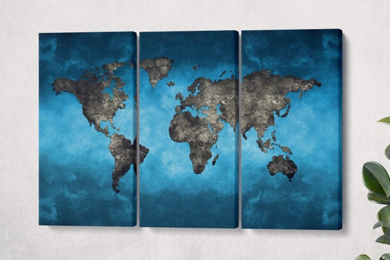 Bluetech World Map Leather Print/Large World Map/World Map on Eco Leather  Print/Extra Large World Map/Wall Decor/Better than Canvas!