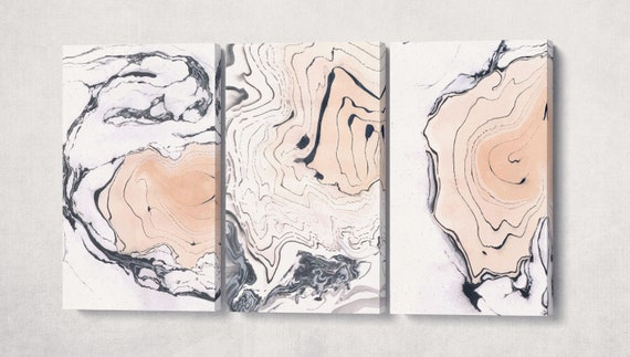 3 Panel Pink Marble Abstract Artwork Leather Print
