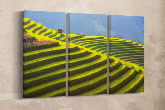 3 Panel Rice Terrace of Vietnam Landscape Leather Print/Large Wall Art/Large Vietnam Print/Nature Print/Made in Italy/Better than Canvas!