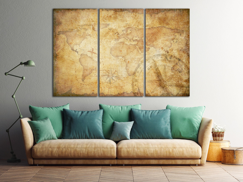 Aged Treasure Map Leather Print/Large World Map/Extra Large World ...